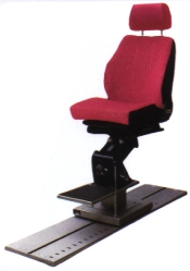 photo of a red coloured pilot chair with sliding device