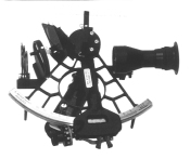 black and white photo of a sextant