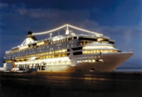 photo of a Silja Line ship on zhe high seas at night
